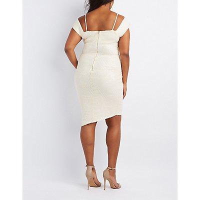 Plus Size Sequin Cold Shoulder Wrap Dress