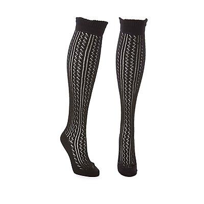 Wide Width Pointelle Over-The-Knee Socks
