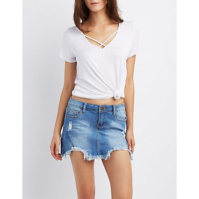 Machine Jeans Distressed Denim Mini Skirt