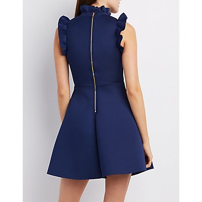 Ruffle-Trim Mock Neck Skater Dress