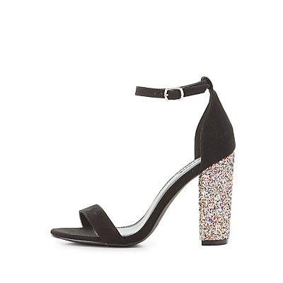 Two-Piece Glitter-Heel Sandals