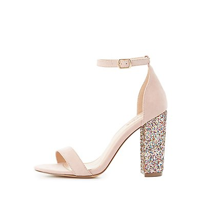 Two-Piece Glitter-Heel Sandals