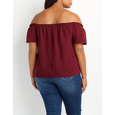 Plus Size Fluttery Off-The-Shoulder Top