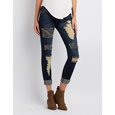 Distressed Patchwork Skinny Jeans