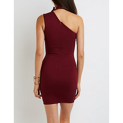 One-Shoulder Choker Detail Dress