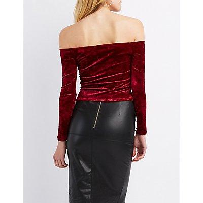 Embellished Velvet Off-The-Shoulder Crop Top