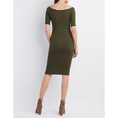 Ribbed Off-The-Shoulder Midi Dress