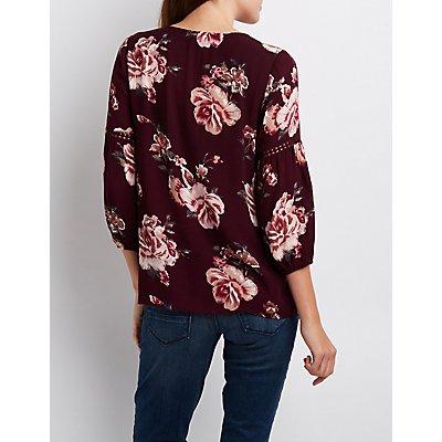 Floral Crochet-Trim Lace-Up Blouse