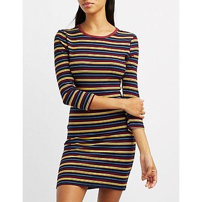 Striped Crew Neck Bodycon Dress