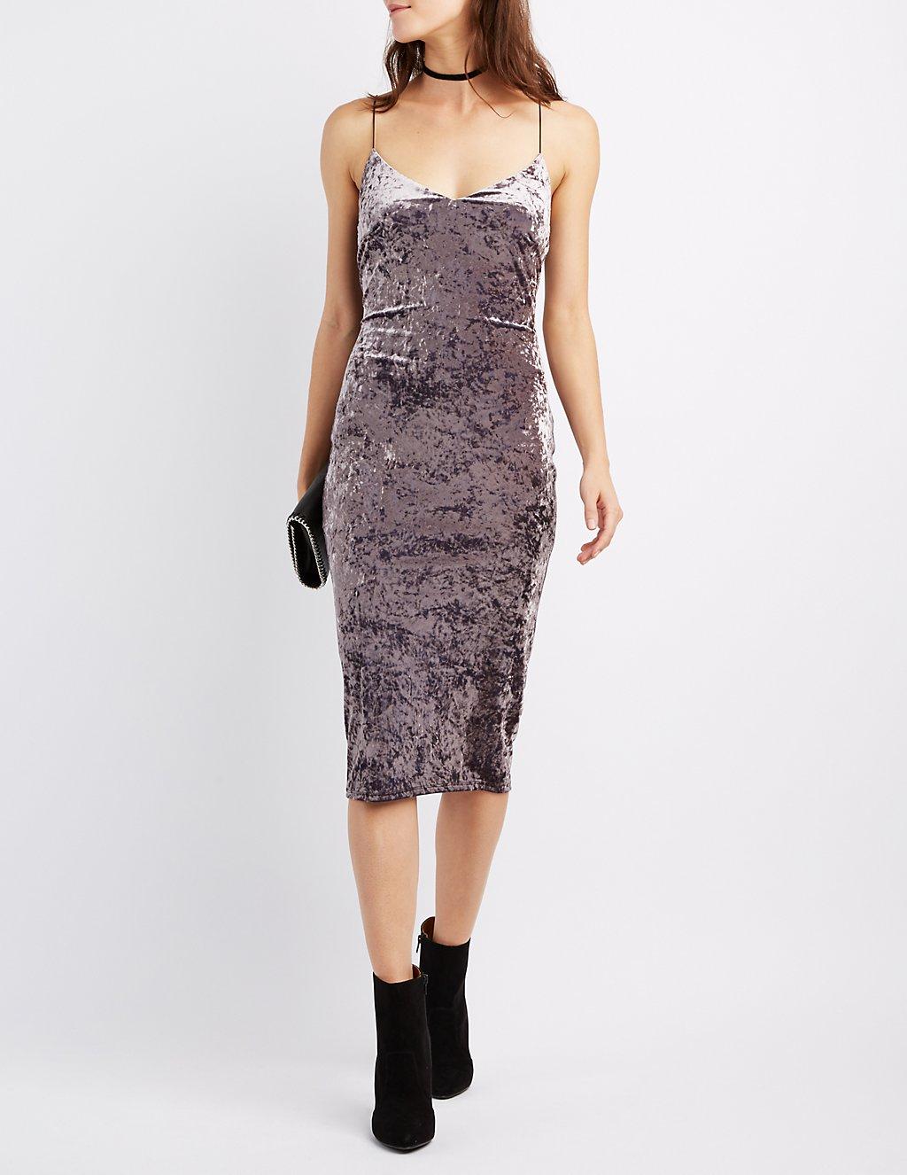 Crushed Velvet Slip Dress | Charlotte Russe