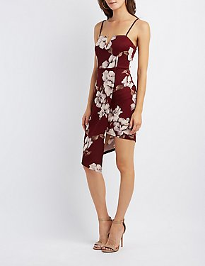Floral Asymmetrical Bodycon Dress