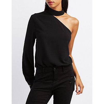 One-Shoulder Mock Neck Bodysuit
