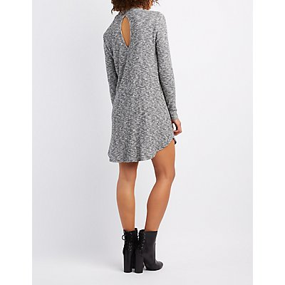 Marled Mock Neck Swing Dress