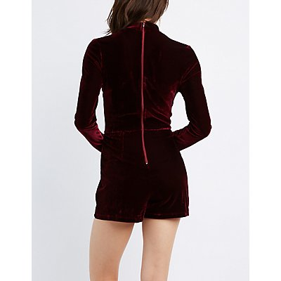 Velvet Mock Neck Cut-Out Romper