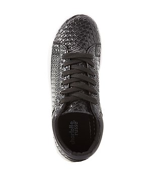 Basket Weave Lace-Up Sneakers
