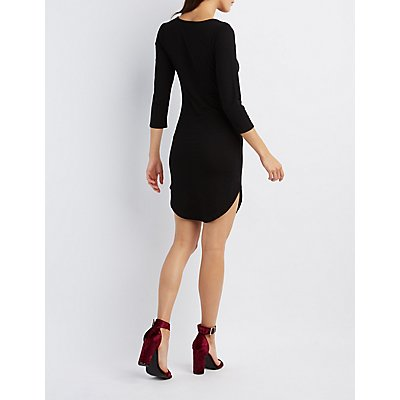 Lace-Up Bodycon Dress