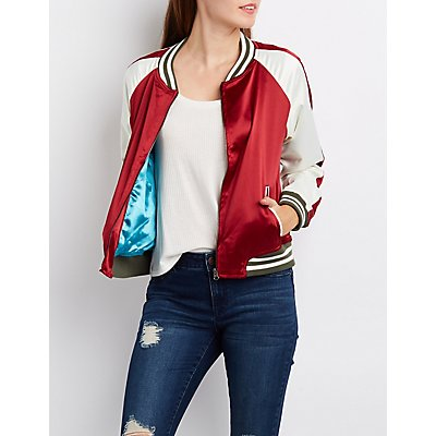 California Striped Colorblock Bomber Jacket