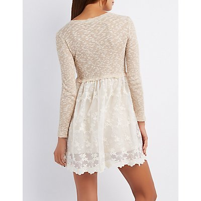 Ribbed & Lace Skater Dress
