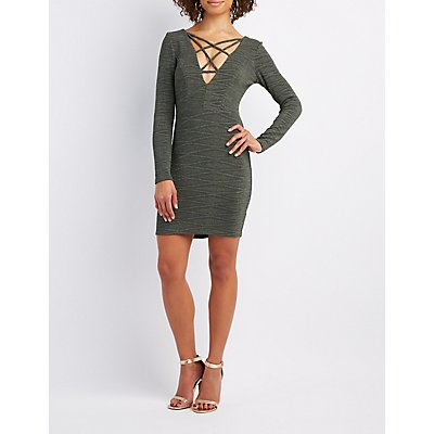 Shimmer Lattice-Front Bodycon Dress