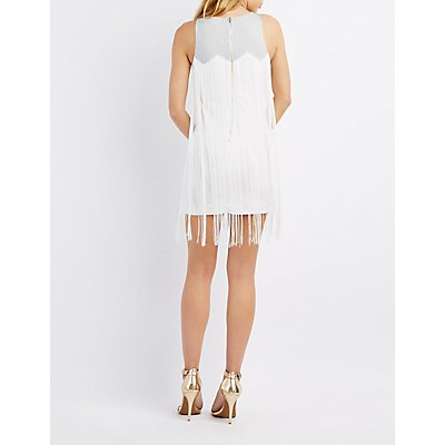 Shimmer-Yoke Fringe Bodycon Dress