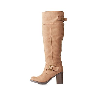 Faux Suede Buckled Riding Boots