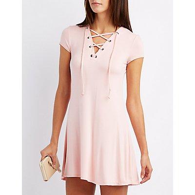 Lace-Up Trapeze Shift Dress
