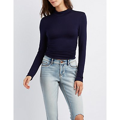 Mock Neck Ruched Top