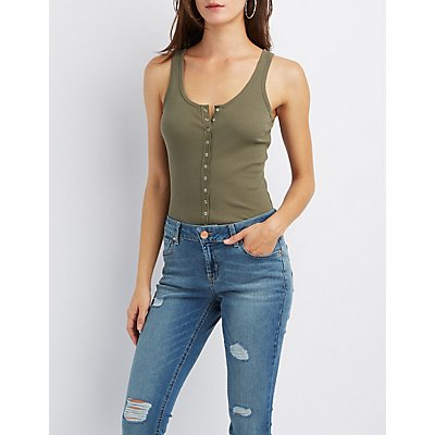 Ribbed Snap-Front Bodysuit