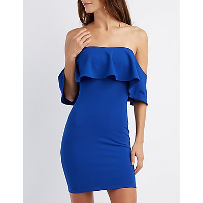 Ruffle Off-The-Shoulder Bodycon Dress