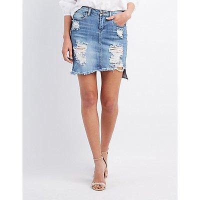 Machine Jeans Distressed Denim Pencil Skirt