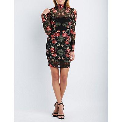 Floral Mesh Bodycon Dress