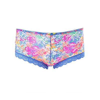 Plus Size Printed Lace Cheeky Panties