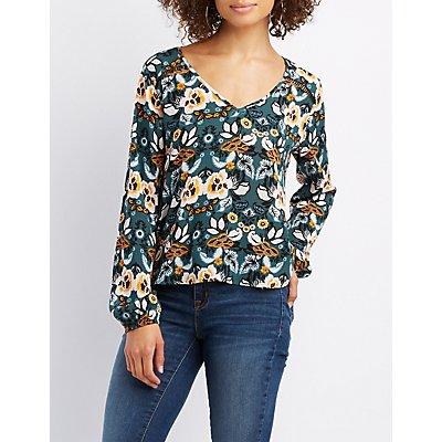 Floral Crochet-Trim V-Neck Blouse