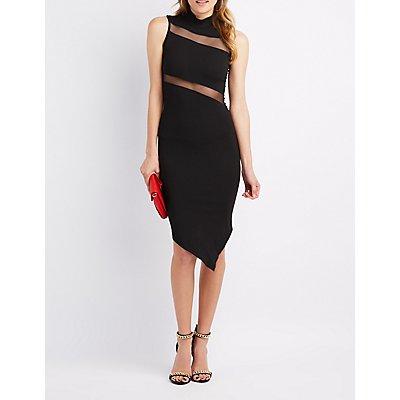 Mesh-Trim Asymmetrical Dress