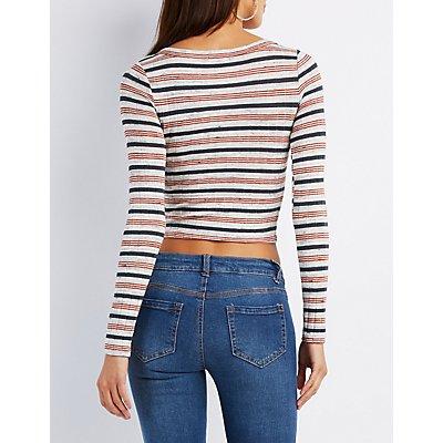 Striped Henley Crop Top