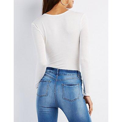 Lace-Up Long Sleeve Bodysuit