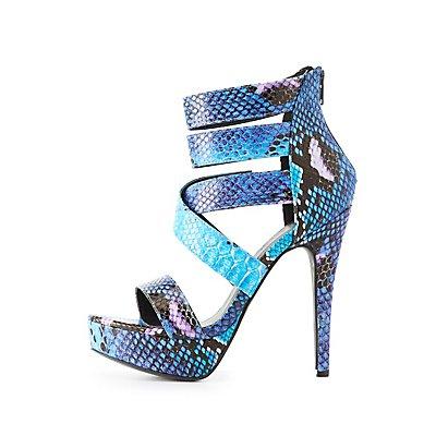 Faux Snakeskin Platform Dress Sandals