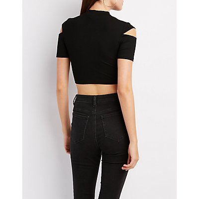 Mock Neck Cut-Out Sleeve Crop Top