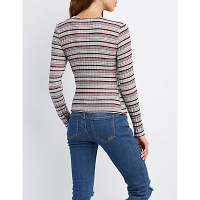 Striped & Ribbed Fitted Top
