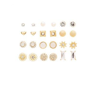 Rhinestone Embellished Stud Earrings - 12 Pack