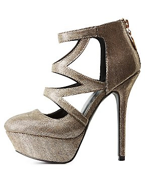 Qupid Metallic Platform Pumps