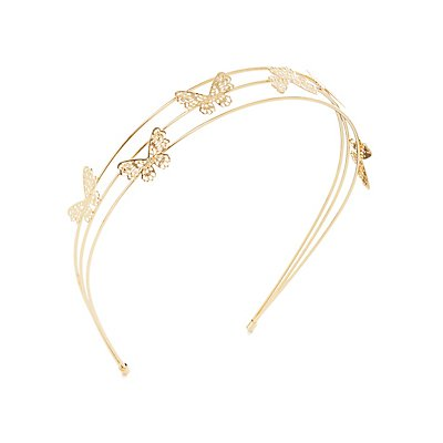 Etched Metal Butterfly Tiara Headband