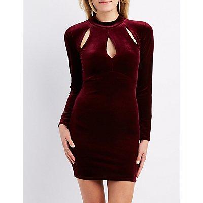 Velvet Mock Neck Cut-Out Dress