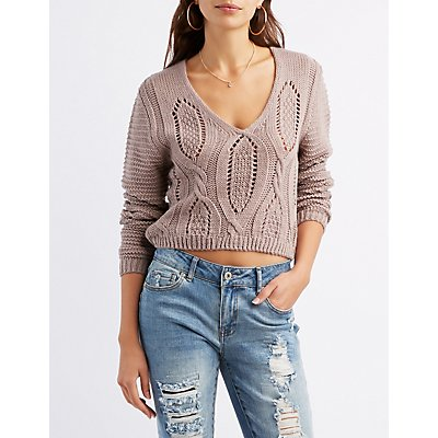 Cable Knit Lace-Up Back Sweater