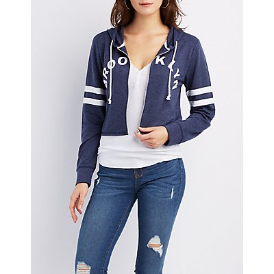 Brooklyn Varsity Stripe Cropped Hoodie