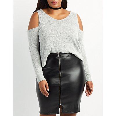 Plus Size Marled Cold Shoulder Top