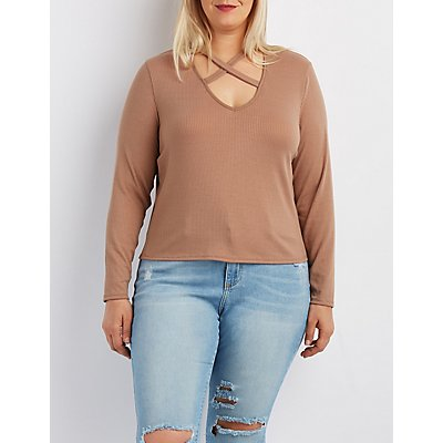 Plus Size Ribbed Strappy Neck Crop Top
