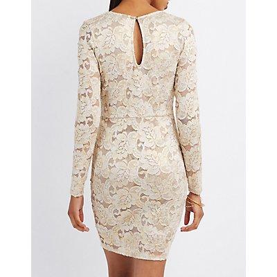 Lace Lattice-Front Bodycon Dress