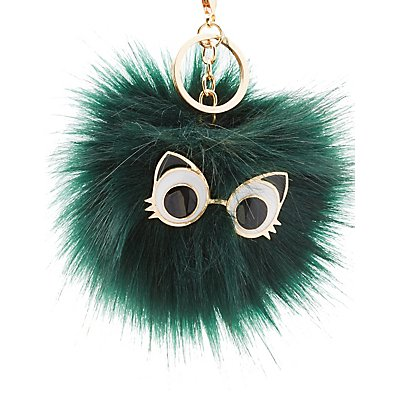 Cat Eyes Faux Fur Ball Keychain
