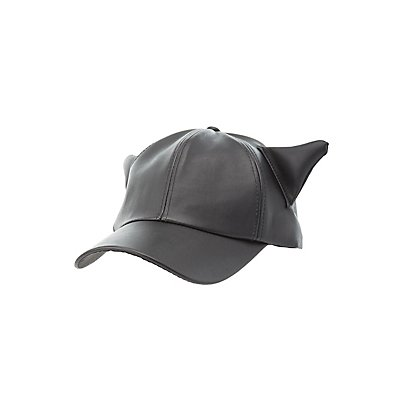 Faux Leather Cat Ear Baseball Hat